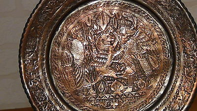 Antique 18C Islamic Persian Tinned Engraived Copper Tray And Ewer Hinting Scene 3