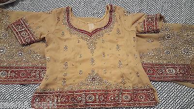 New Womens Cream Gold Maroon Wedding Dress Indian Pakistani Asian Small 2