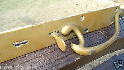 13812/ Antique Victorian Large BRASS  DOOR HANDLE / PULL with Keyhole