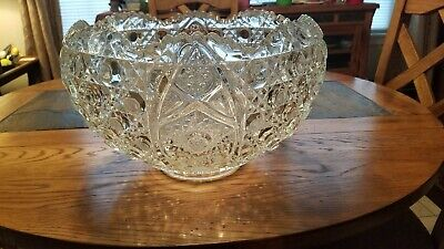 1950's Vintage American Cut Glass Punch Bowl (8lbs) 2