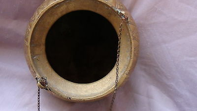 ANTIQUE 19c ARABIC ISLAMIC BRASS INGRAVED RELIEF ORNAMENT VESSEL,POR WITH CHAIN 7