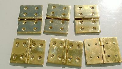 "6 small cast polished hinges vintage style solid Brass DOOR BOX heavy 2"" screws 3"