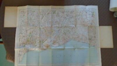 "Ordnance Survey map 1"" Lyme Regis Sidmouth 1932 Bridport Axminster Ottery Beer 2"
