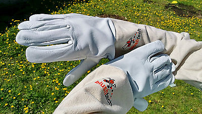 Beekeeper Beekeeping Bee gloves 100% Leather & Cotton Zean gloves Pair UK Seller 2
