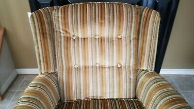 Vintage Gold Striped Velvet Fabric Tufted Arm Chair - VGC 7