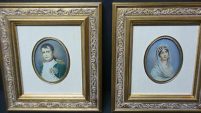 PAIR 19th C. PAINTINGS ON PORCELAIN NAPOLEON & JOSEPHINE PORTRAITS, SIGNED 8