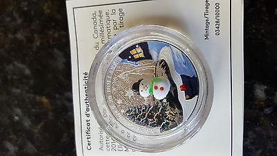 Canada 2014 Murano Venetian Glass Snowman $20 Christmas Silver Proof 7