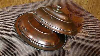 ANTIQUE 18c ISLAMIC COPPER SERVING OVAL DISH WITH LID, MARKED. 5