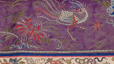 ANTIQUE 19c CHINESE FORBIDDEN STITCH POLICHROME SILK EMBROIDERY PHOENIX BANNER 4