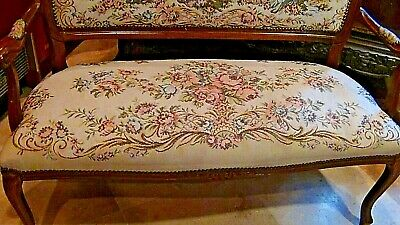 Set Of 2  Antique 1920 Upholstered Armchair And Settee Depicts Of Court Scene 12