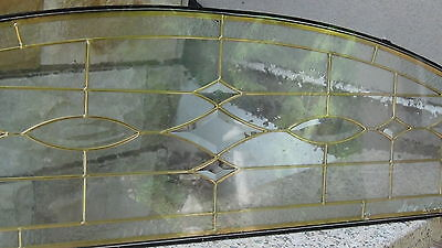 "Beveled  Leaded Glass  Brass Gold Or Silver Patina  Arch 63""l Window Transom 3"