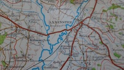 "Ordnance Survey map 1"" Lyme Regis Sidmouth 1932 Bridport Axminster Ottery Beer 8"