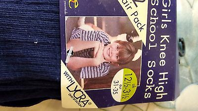 girls boys navy 2 pack knee school socks BNIP size 12-3.5 euro 31-35 2