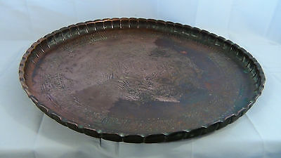 ANTIQUE 18c ARABIC ISLAMIC COPPER TRAY - 99 NAMES OF ALLAH IN ETCHED CALLIGRAPHY 2