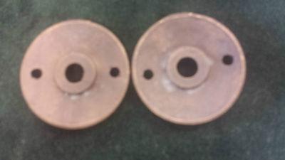 Pair Antique Brass Door Knob Backplates Escutcheons Floral pattern (#2) 2
