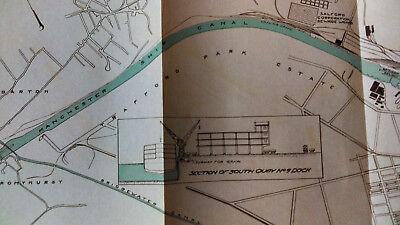 1910 Map of Manchester Docks England South Quay Trafford Park Estate Salford 3