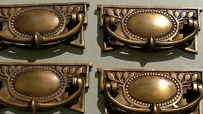 4 heavy vintage old style handles door brass furniture antiques 95 mm pulls B 3