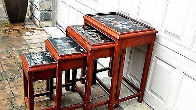 Set Of 4 Antique Chinese Painting & Stone,jade Imlayed Nesting Tables,glass Top 3