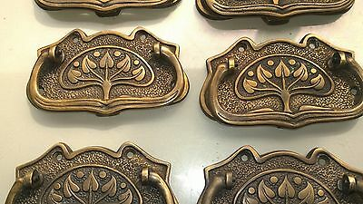 6 large DECO cabinet handles solid brass furniture antiques age old style 11cmB 8
