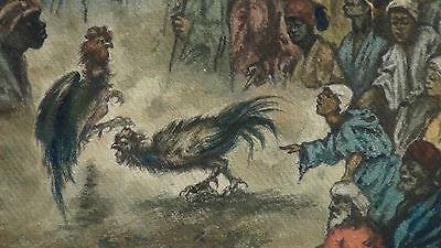 "Luigi Feerazi (Italy) 1876 Original Watercolor Orientalist Painting""cock Fightin 4"