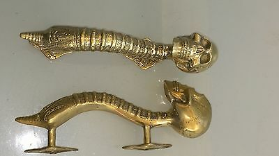 """2 small SKULL head handle DOOR PULL spine natural AGED BRASS old style 8"""" B 9"""