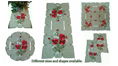 """Dresser Scarf Embroidered Table Runner Poppy Red Poppies Daisy 34"""" X 15"""" Doily 4"""