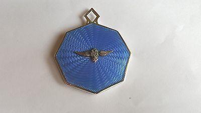 Superb Gieves Ltd 1930s RAF Badged Guilloche Enamel & White Metal Handbag Mirror