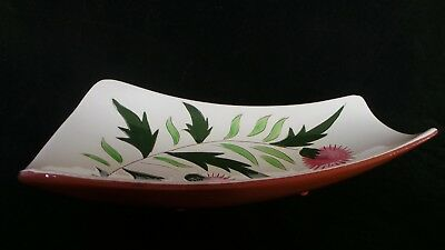 """STANGL THISTLE 11"""" Trapezoid Relish Tray Dish Vtg Mid-Century Pink Green PRETTY! 12"""