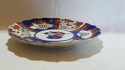 Red & blue Imari design vintage Victorian Japanese Meiji period antique plate C 3