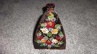 Beautiful Traditional British Hand Painted Barge/Canal Ware Metal Ladies Iron! 3