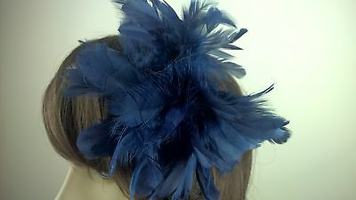 navy blue feather flower fascinator millinery hair clip wedding piece ascot race 2