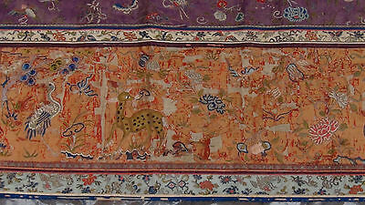 ANTIQUE 19c CHINESE FORBIDDEN STITCH POLICHROME SILK EMBROIDERY PHOENIX BANNER 12