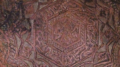 ANTIQUE 18c ARABIC ISLAMIC COPPER TRAY - 99 NAMES OF ALLAH IN ETCHED CALLIGRAPHY 11