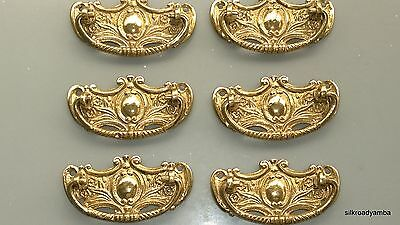 6 heavy handles polished pull solid brass heavy old vintage style drawer 8 cm B 3