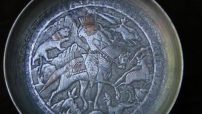 Antique 18C  Islamic Relief Bowl Depicts Persian Sultan Fighting With The Lion