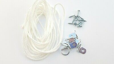 Picture Frame D Ring + Screws With Cord Nickel Canvas Hook Hanger 10 or 20 sets 10