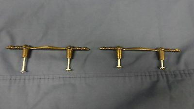 "626D Vtg 1968 Pair 2 Antq Brass Drawer Handles 5 7/8"" Long w/3"" Centers Canadian 6"