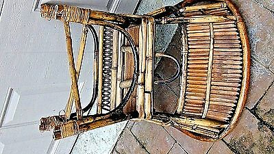 ANTIQUE 19c CHINESE BAMBOO RATTAN CHILD ARM CHAIR 11