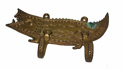 An Old unusual Vintage Unique CROCODILE SHAPE COAT HOOK from India Made of Brass 5