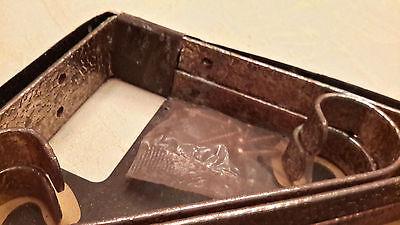 Pair Vintage Wrought Iron Shelf Brackets Circa 1950's Alligator Imprint On Brass 5