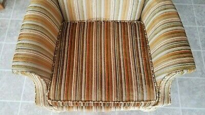 Vintage Gold Striped Velvet Fabric Tufted Arm Chair - VGC 8