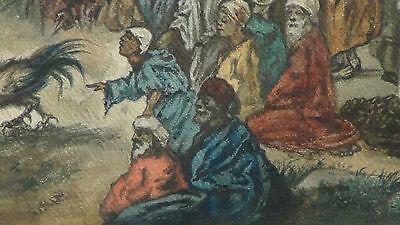 "Luigi Feerazi (Italy) 1876 Original Watercolor Orientalist Painting""cock Fightin 7"