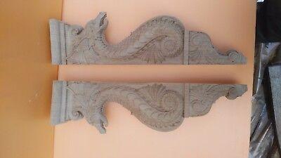 "20"" Large Wooden Corbel/bracket Dragon.  Carved from oak wood. 5"