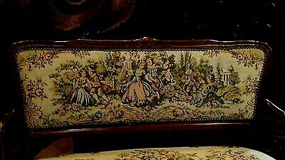 Set Of 2  Antique 1920 Upholstered Armchair And Settee Depicts Of Court Scene 11