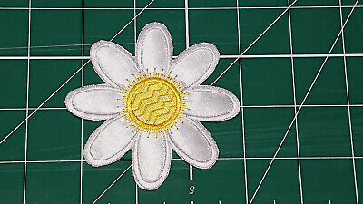 White/Yellow Flower (Iron On) Embroidery Applique Patch-Badge (Diameter - 84mm) 4