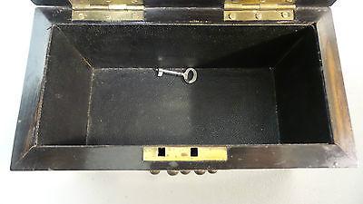 "19th C. ROSEWOOD ""ALMS"" COLLECTION BOX, BRASS TRIM & ORIGINAL KEY, c.1860-80 6"