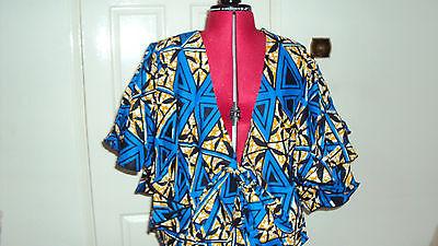Ankara African Print Blue, Black & Beige Multi Skirt & Jacket Top UK 12-14 / M 3