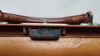 Antike alte Arzttasche aus Leder Nest Hofmann Carlsbad um 1920 orig.Schutztasche 3