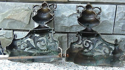 Pair Antique 18C French Brass Ormolu Andirons And Greed Between 9