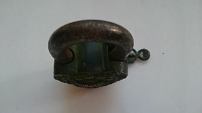 Vintage Solid Bronze Engraved Padlock W/Key № 35